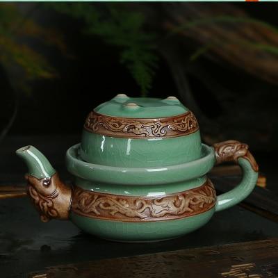 Genuine Ge Kiln Dragon style teaset Quik cup 1 pot + 1 cup ice crack porcelain Ceramic teapot
