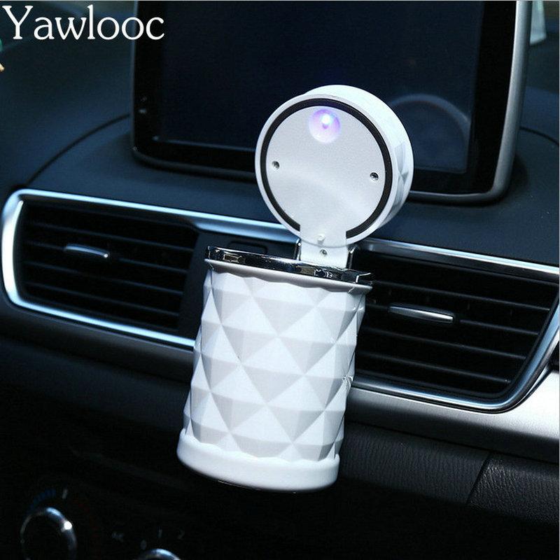 Accesorios de coche Yawlooc luz LED portátil Cenicero de coche soporte de cilindro de cigarrillo Universal Mini Carro de estilo de coche Cinzeiro