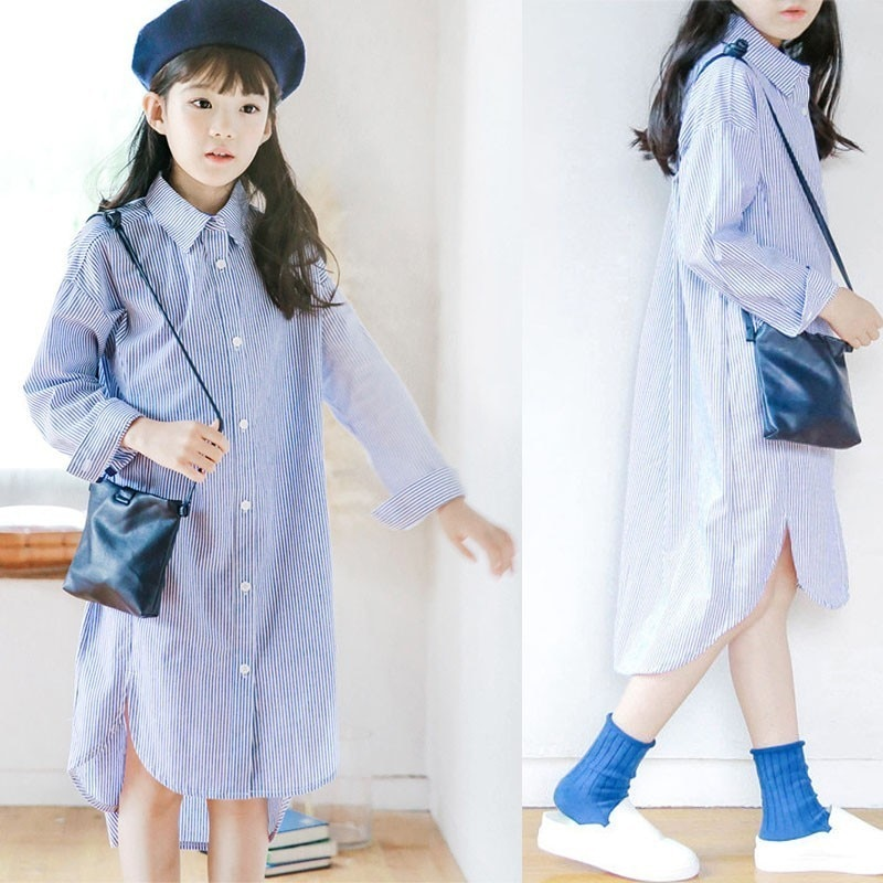 Back To School Clothing Big Girls Blue Striped Long Shirt Dress Knee Length Kids Long Sleeve Dresses Girl Spring Autumn 2019