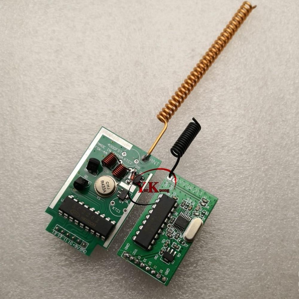 300-4000m لمسافات طويلة الارسال وحدة 4 CH مفتاح التحكم عن بعد PCB + DC 5V 4CH استقبال وحدة TTL 433 قوي مكافحة interence
