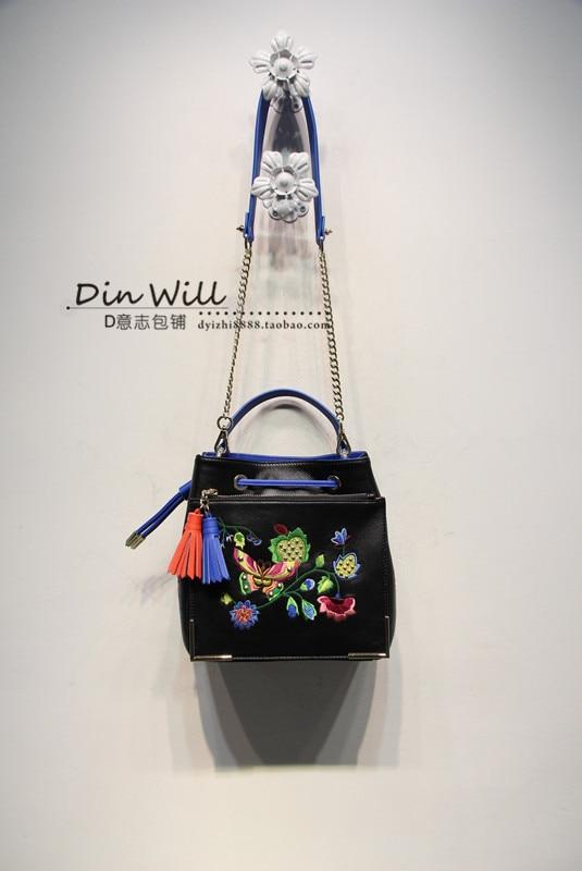 free shipping  high quality embroidery women's handbag sheepskin handbag one shoulder chain small bucket bag