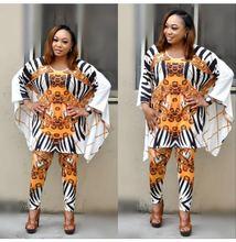2019 AliExpress Africa Best Selling Womens Print Crewneck Jacket Jacket+Stretch Pants