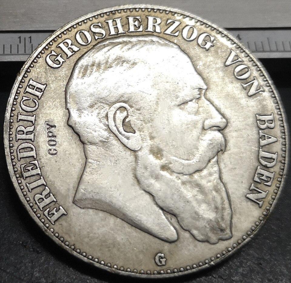 1907-G Grand-duchy of Baden 5 Mark-fririch I copia chapada en plata moneda rara