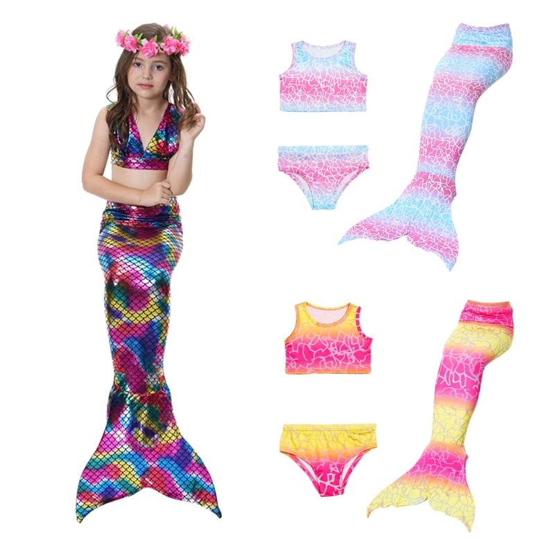 3PCS/Set Girls Kids Mermaid Tails Fancy Children Mermaid Tail Costome Swimmable Bikini Set Bathing Swimsuit girl Cosplay