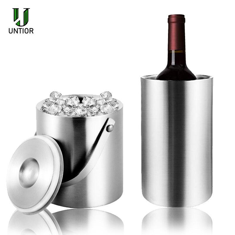 Untior 1.3l/3l balde de gelo aço inoxidável portátil parede dupla isolado balde com tampa barril vinho champanhe refrigerador barra ferramentas