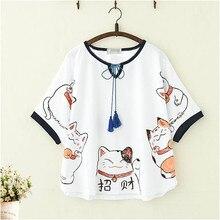 Cool japon t-shirts femmes Anime Harajuku t-shirt Streetwear 2019 été dessin animé chat imprimé t-shirt femme Kawaii hauts t-shirt fille