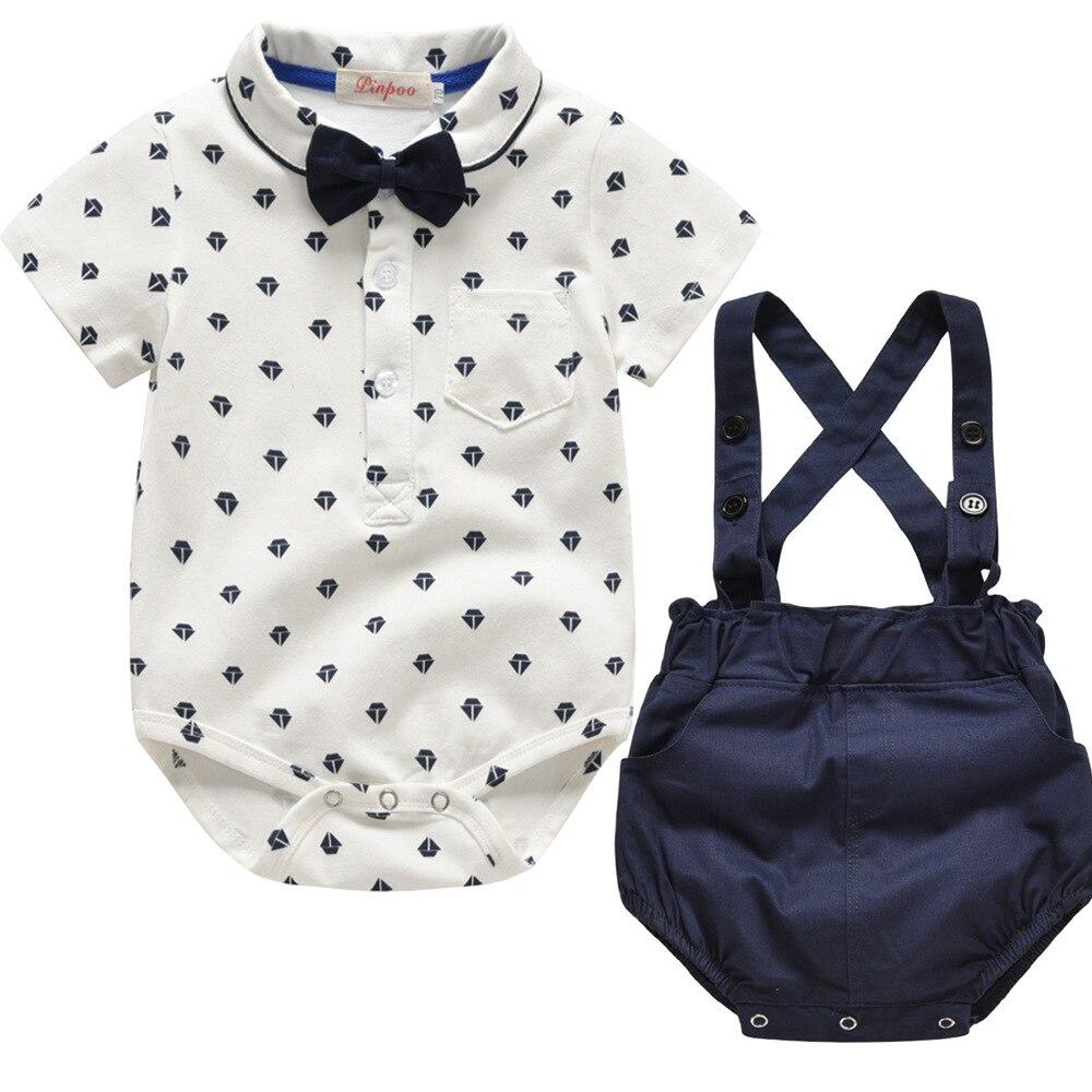 Conjunto de ropa para bebé de estilo veraniego, ropa para recién nacido, 2 uds., camiseta de manga corta + tirantes, traje de caballero, ropa para niño pequeño