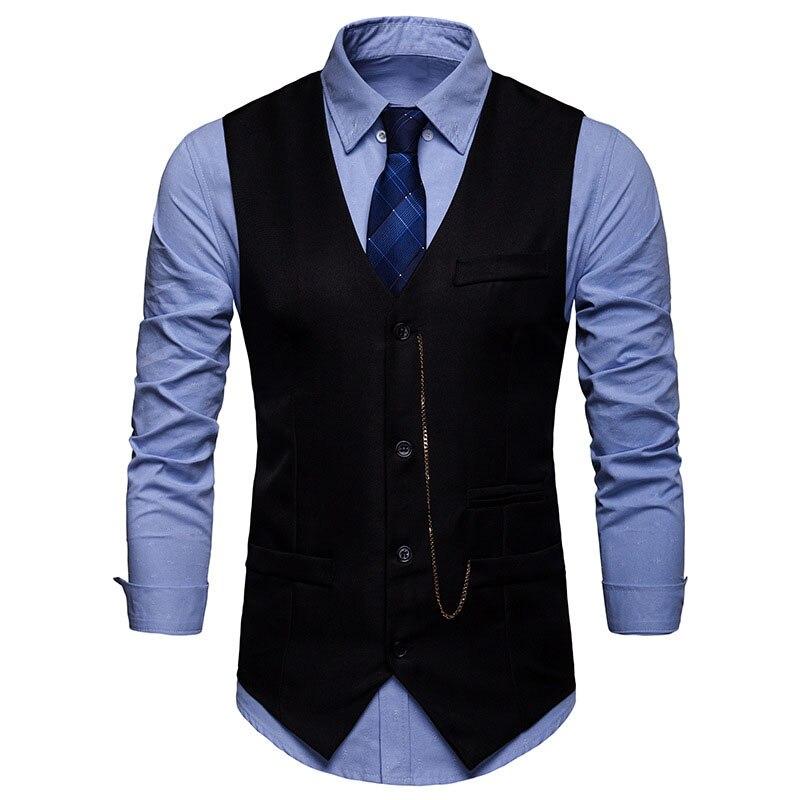 Black Slim Fit Vest Men 2019 Fashion Vintage Chain Design Mens Suit Vest Business Casual Vest Waistcoat Men Gilet Costume Homme