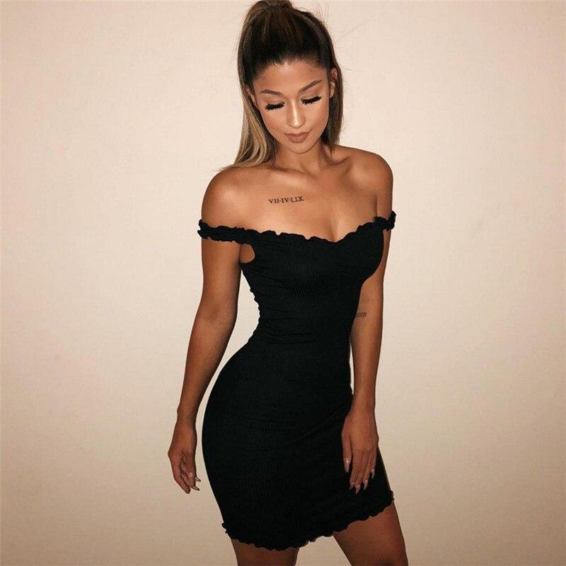 Summer Ruffles Solid Sling Tight Dresses Sleeveless Bodycon Short Dress Sexy Party Dress Women 2019 New GRNSHTS