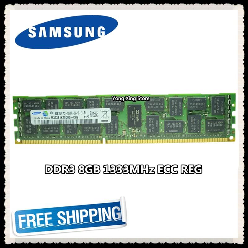 Samsung-Memoria de servidor DDR3 de 8GB, 16GB, 1333MHz, ECC REG DDR3, registro de PC3-10600R, RDIMM RAM de 240pin 10600 8G X58 X79, uso de la placa base
