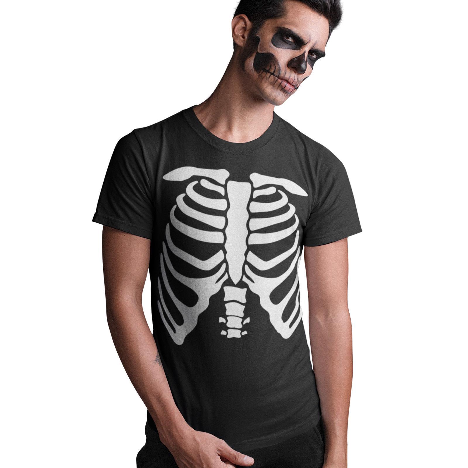 Halloween Skeleton Fancy Dress T Shirt Skull Mens Womens Childrens Black Party free shipping cheap tee Fashion Style Men Tee