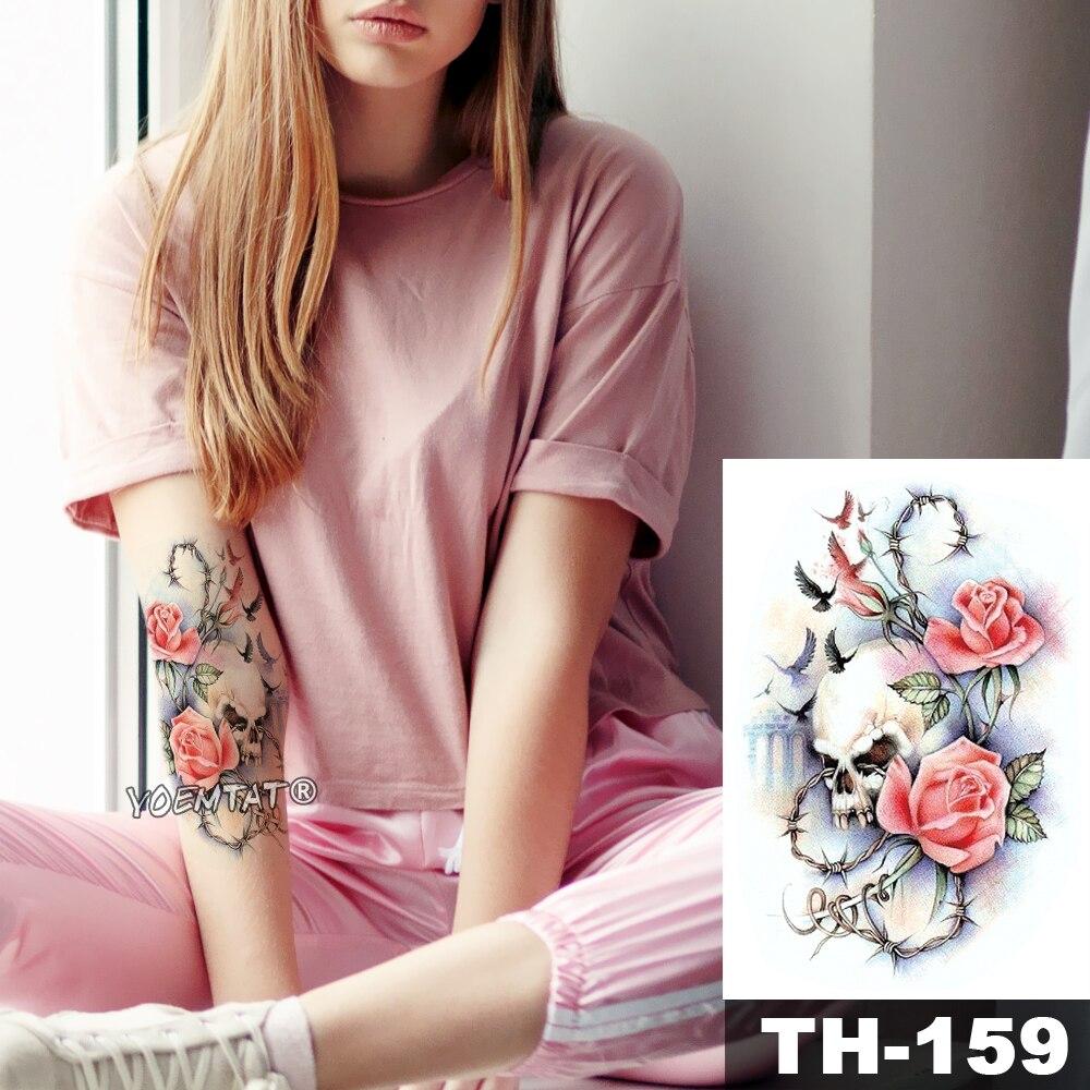 Tatuaje temporal a prueba de agua pegatina paloma cráneo Rosa patrón de transferencia de agua flor vid Arte del cuerpo falso prediseñado tatuaje