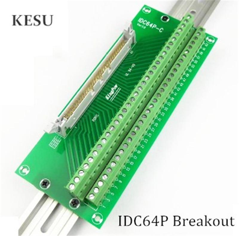 IDC64P IDC 64Pin bloque de Terminal macho Breakout PLC relé terminales DIN Rail montaje adaptador conector