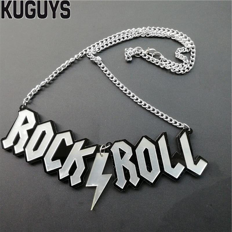 Collar KUGUYS de acrílico con forma de rollo de letras ROCK, joyería a la moda, colgante de hip hop, collares para mujeres y hombres, accesorios, cadenas para suéter