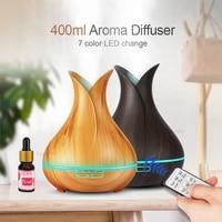 Diffuseur dhuile essentielle et darome pour bureau et maison  humidificateur dair ultrasonique avec Grain de bois  lumieres LED aux 7 couleurs changeantes  400ml