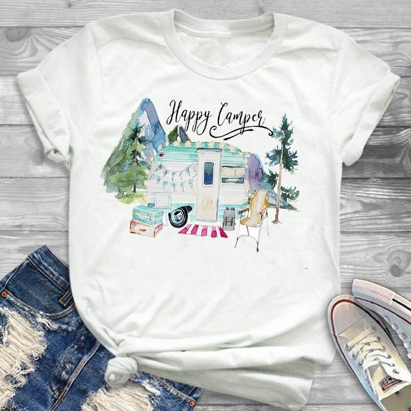 Camiseta de mujer Happy Camper Car Mountain, ropa femenina para mujer, camiseta para mujer, camiseta gráfica de manga corta, camiseta estampada