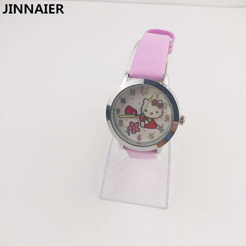 10 unids/lote, venta al por mayor, relojes Hello Kitty de dibujos animados en 3D para mujeres, regalos de actividades para niñas, correas de cuero, reloj de pulsera de cuarzo para niños