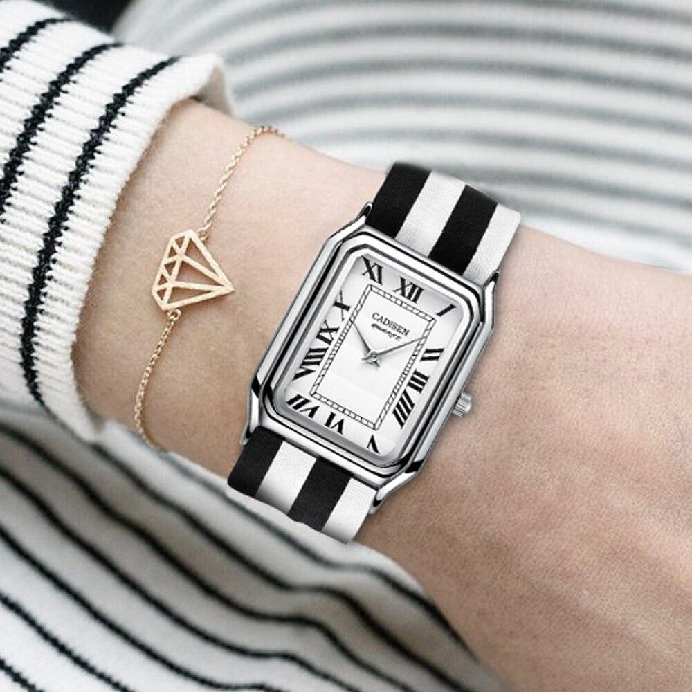 Relojes cuadrados CADISEN súper a rayas finas de tela para mujer, reloj Casual de lujo de marca superior para mujer, reloj de pulsera para mujer, reloj femenino