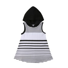 Ropa Infantil para niñas pequeñas, ropa con capucha, Tops, vestido de fiesta informal a rayas, minivestidos de verano para niñas, 6 M-5 T