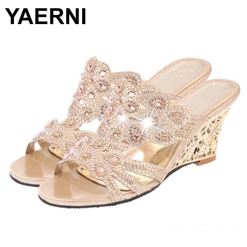 Женские сандалии с кристаллами YAERNI, повседневные блестящие босоножки на высоком каблуке, стразы, обувь для лета, 2019