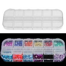 Пластиковый пустой футляр для хранения, 12 пластиковых ящиков для хранения, инструменты для маникюра, прозрачные блестящие Кристальные Стра...
