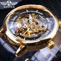 winner 2019 royal golden luxury gear movement design open work mens automatic fashion wrist watch top brand male skeleton watch