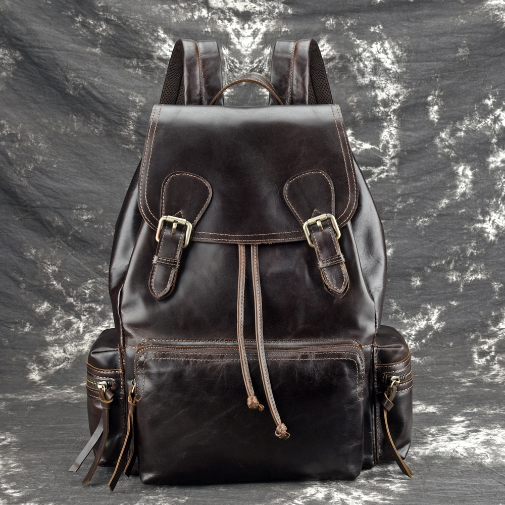 High Quality Genuine Leather Unisex Rucksack School Daypack Large Capacity Book Bag Travel Knapsack Oil Wax Cowhide Backpack