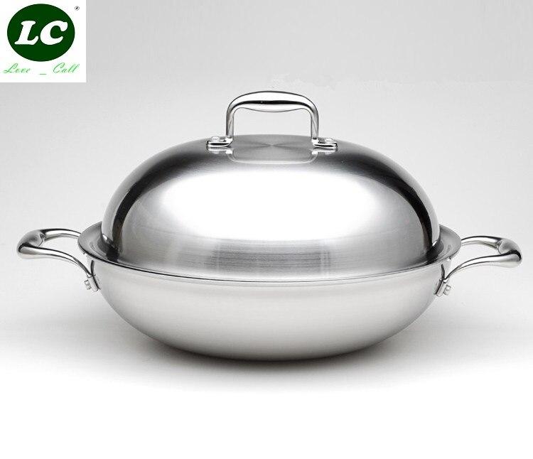 Wok cozinhar pan 5-ply thicking inox cozinhar pan 36cm de luxo qualidade superior antiaderente não fumo wok panelas