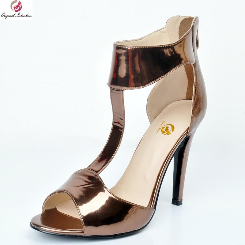 Nuevas sandalias de mujer concisa de intención Original, Sandalias de tacón fino con punta abierta a la moda, bonitos zapatos de café para mujer, tallas grandes de EE. UU. 4-20