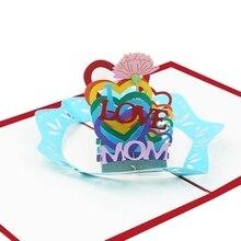 Tarjetas 3D para el día de la madre, tarjetas de regalo, tarjetas de felicitación de flores de amor para la madre, tarjeta de cumpleaños