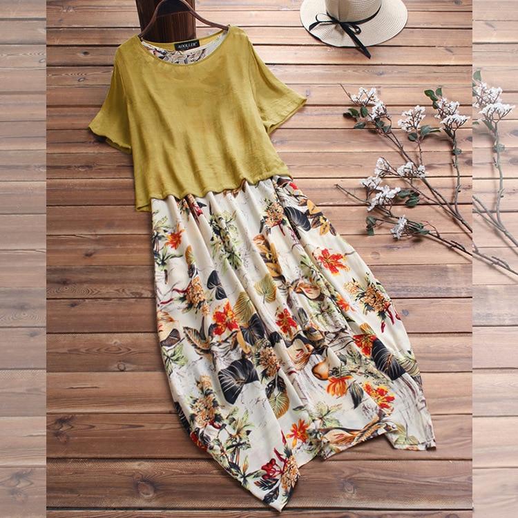 M-5XL 2019 vestido holgado estampado de verano moda algodón Lino de talla grande estampado Vintage Vestido Mujer Casual suelto largo Fiesta Vestidos