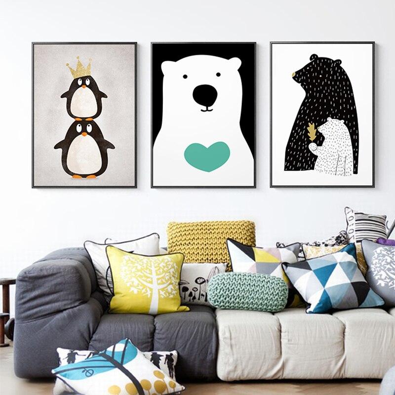 Póster nórdico de dibujos animados muñeco de nieve Polar pintura de osos lienzo cuadros artísticos de pared para sala de estar regalo único decoración del hogar carteles impresiones
