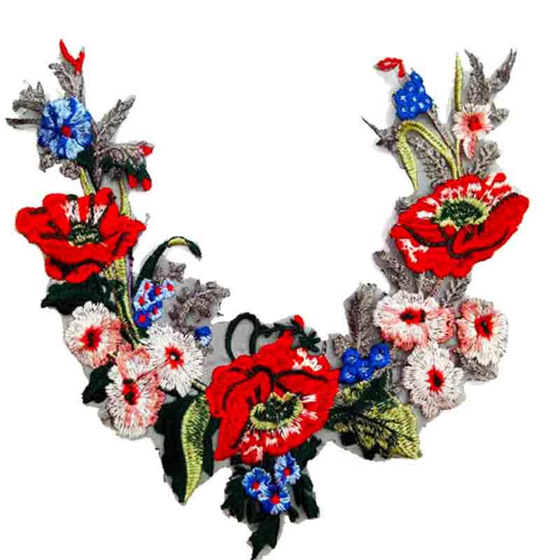 Tela bordada 3D de alta calidad, aplique de costura de encaje Venise de flor roja para manualidades Diy, accesorios de costura para escote