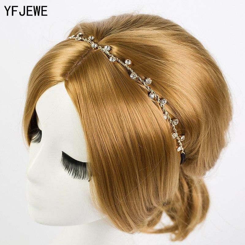Женские аксессуары для волос YFJEWE, украшения для волос на голову с кристаллами и цепочкой, H008