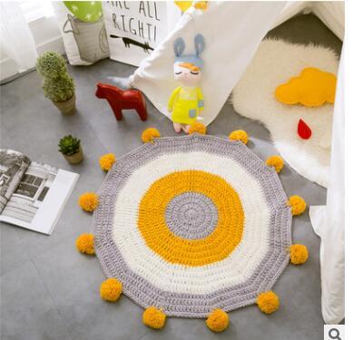 سجادة قطنية ناعمة على شكل زهرة الشمس ، ممسحة غير قابلة للانزلاق ، للعب الأطفال ، ديكور المنزل