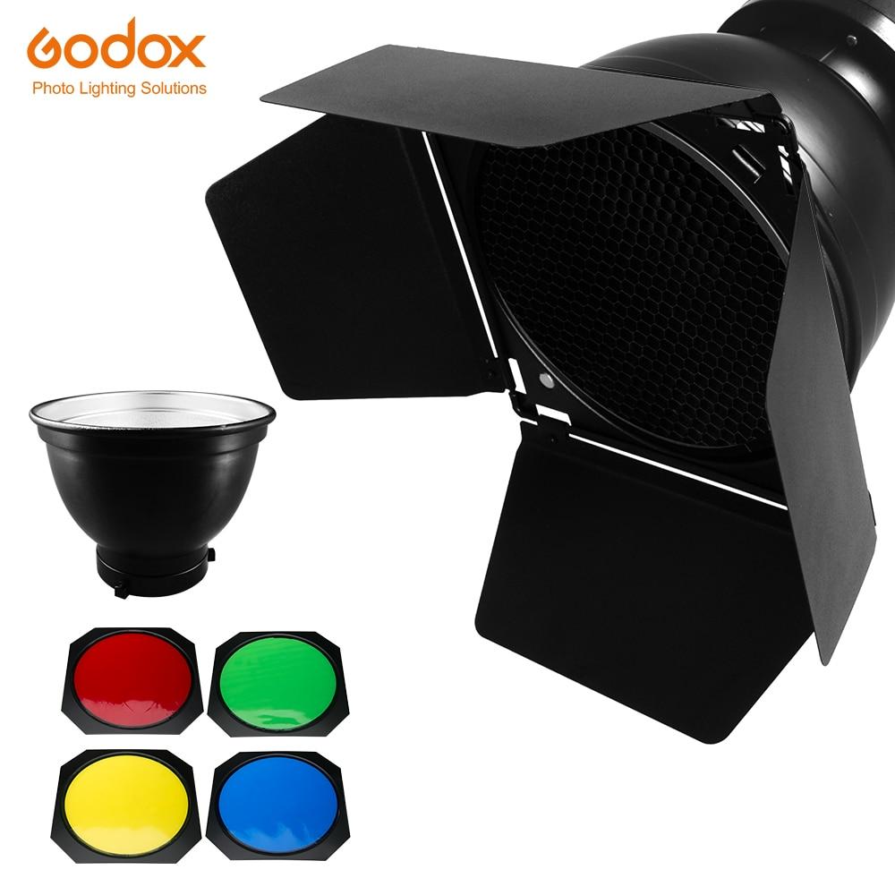 Godox BD-04 باب الحظيرة العسل شبكة 4 لون تصفية بونز جبل عاكس القياسية لفلاش استوديو
