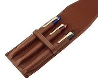 leather pencil case washed cowhide pen case bag for 3 pens coffee pen holder pouch high quality for men women
