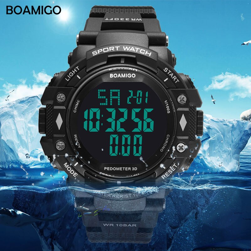 100m wasserdicht männer sport uhren BOAMIGO marke schrittzähler kalorien LED digital uhren schwimmen armbanduhren reloj hombre