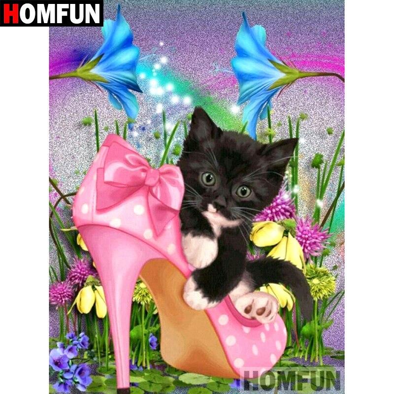 "HOMFUN taladro cuadrado/redondo completo 5D DIY pintura de diamante ""zapatos de gato"" bordado punto de cruz 5D decoración del hogar regalo A07347"