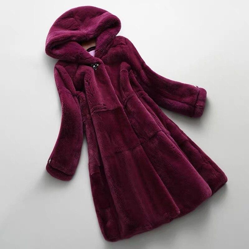 Otoño Invierno nuevo Real/genuino abrigo de piel de conejo Rex mujeres invierno Natural Rex piel de conejo abrigo/chaqueta con hood A182