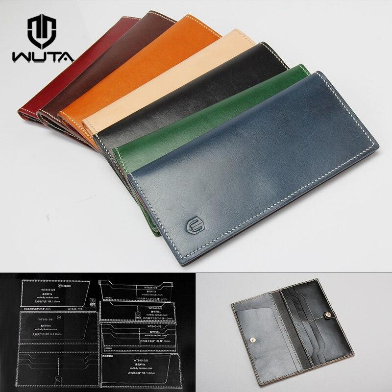 WUTA 845 plantilla para artesanía de cuero patrón de acrílico modelo de corte de cartera larga para principiantes DIY hecho a mano bolso LARGO DE EMBRAGUE Simple