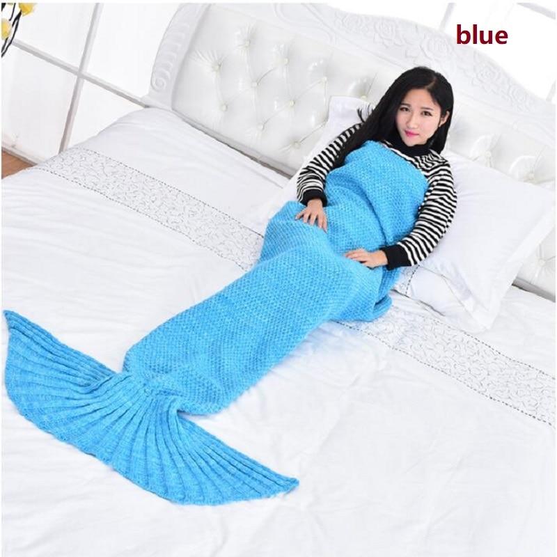 جديد حورية البحر بطانية محبوك حورية البحر بطانية الطفل الأسماك الذيل بطانية أربعة اللون للمنزل فندق السفر