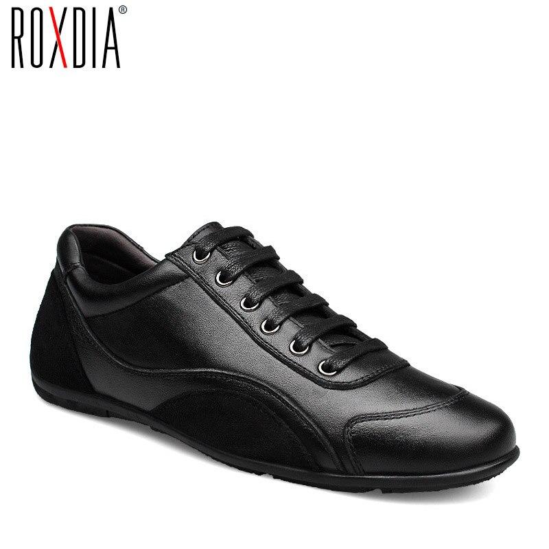 ROXDIA-حذاء مسطح من جلد البقر الأصلي للرجال ، حذاء كاجوال مسطح ، مقاس كبير 39-48 ، RXM040 ، لفصلي الربيع والخريف والشتاء