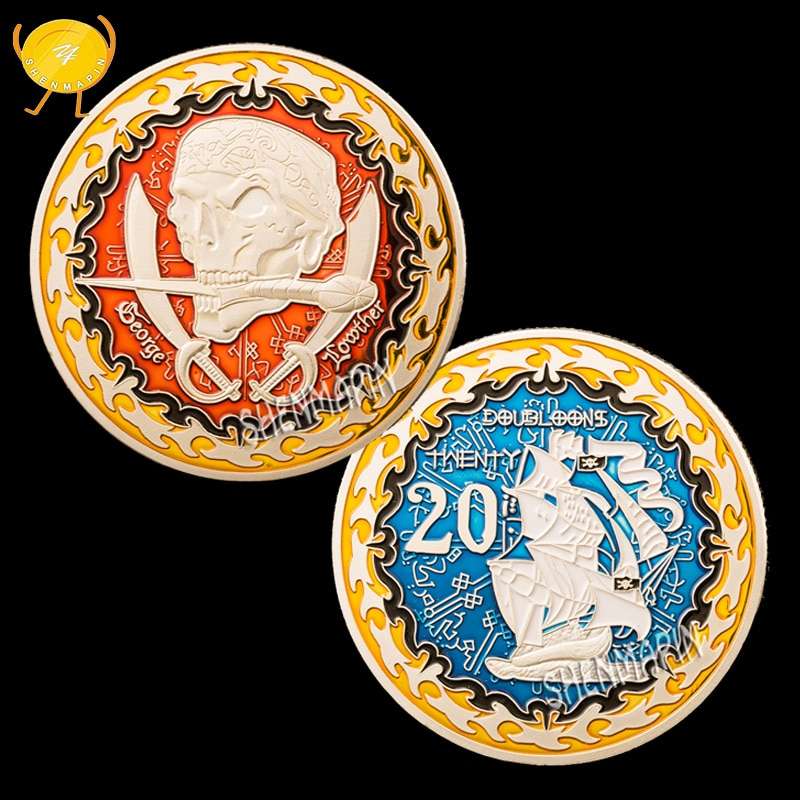 George Lowther Skull Commemorative Coin Pirate's Treasure Twenty Doubloons Coins Collectibles Navigation Challenge Coin