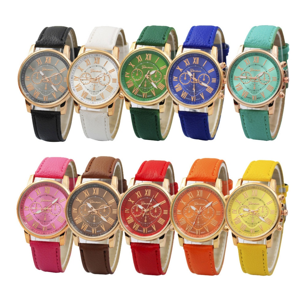 Relojes de lujo de moda informales de oro para mujer, pulsera Geneva con números romanos, cuero de imitación, reloj analógico de cuarzo ASL