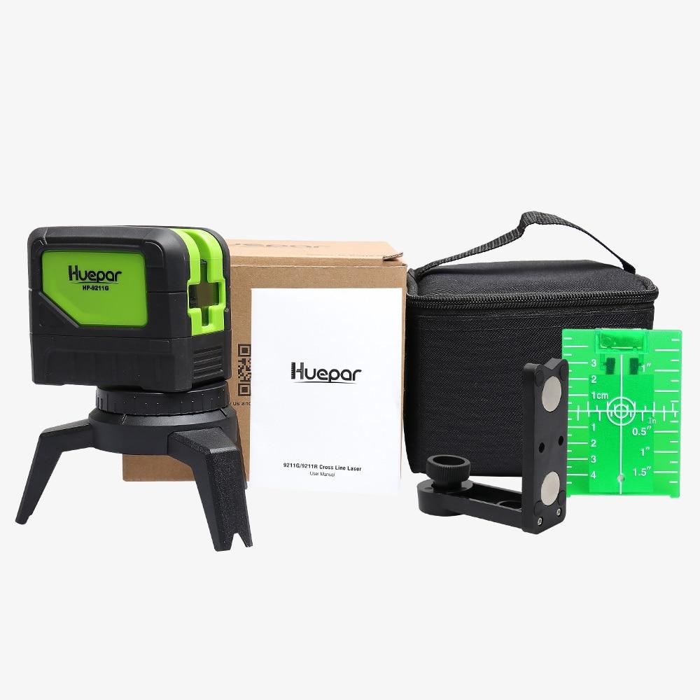 Купить с кэшбэком Huepar Green Beam Laser Level 2 Cross Lines 2 Points Professional 180 Degrees Self-leveling Nivel Laser Diagnostic Tools 9211G