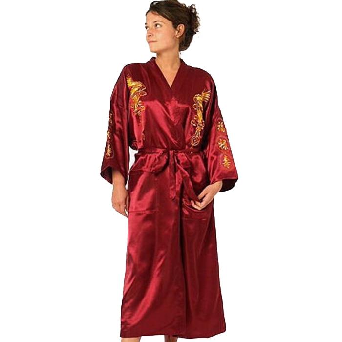 Kimono de dragón bordado de seda burdeos, bata de baño Sexy de satén para mujer, camisón de talla largo S, M, L, XL, XXL, XXXL, BR040