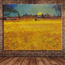 Campo de trigo perto arles de vincent van gogh reprodução artesanal famosa pintura a óleo sobre tela arte da parede para casa decoração presente