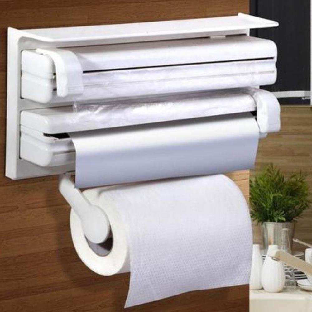 Rollo de cocina toalla dispensador soporte de papel film transparente de pared montado estante Rack de moda