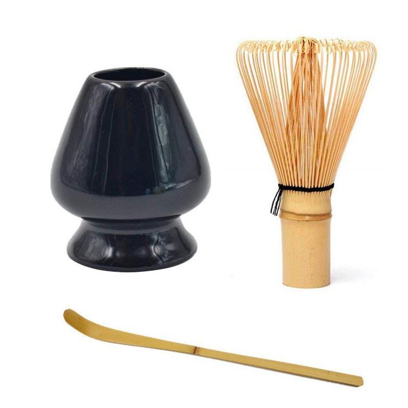 Chá Verde Matcha Whisk Set-Chá Whisk Whisk + Colher + Colher de Chá + Profundo Janpanese Estilo de Bambu Titular jogo de chá Acessórios